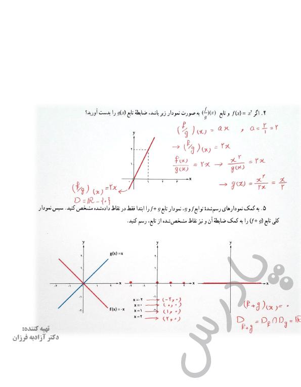 ادامه حل تمرین صفحه 52 ریاضی یازدهم انسانی