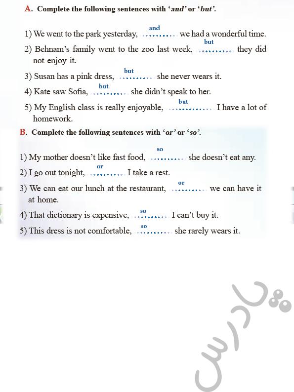 حل تمرین writing  درس 1 زبان انگلیسی دوازدهم