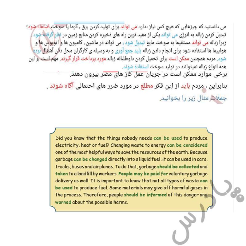 ترجمه بخش گرامر زبان انگلیسی دوازدهم