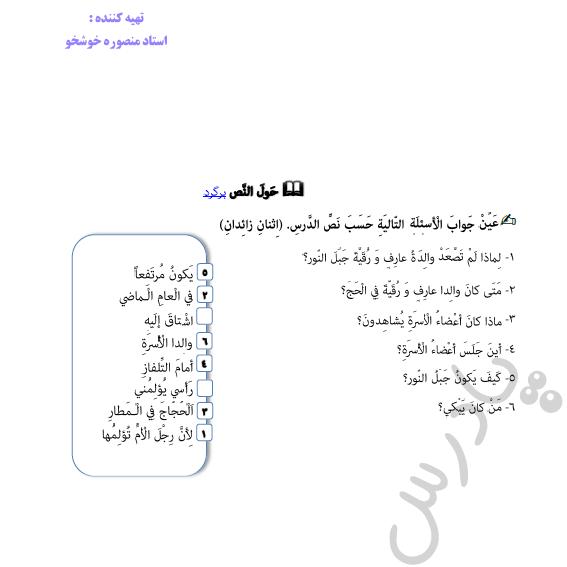 حل تمرین متن درس 2 عربی دوازدهم