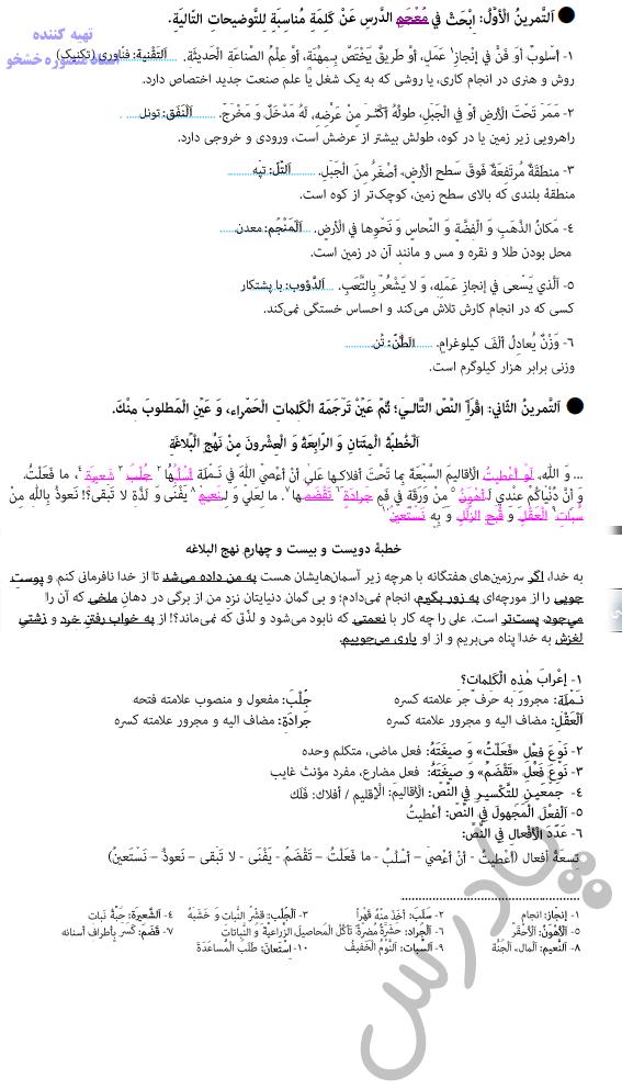 حل تمرین درس دوم عربی دوازدهم انسانی