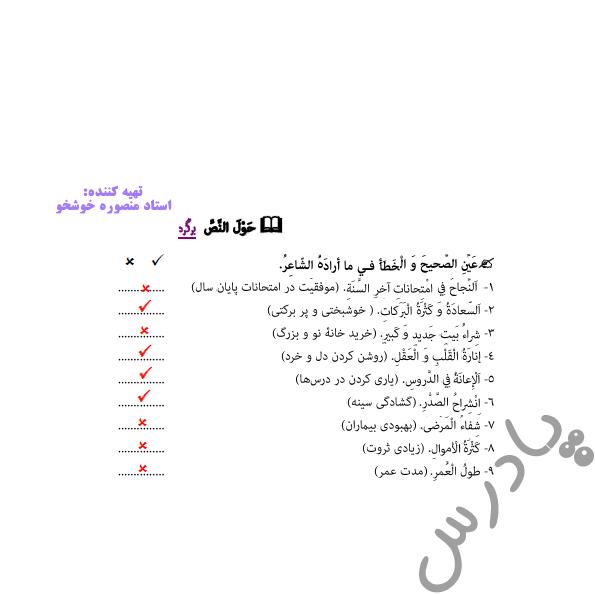 جواب سوالات متن درس 5 عربی دوازدهم انسانی