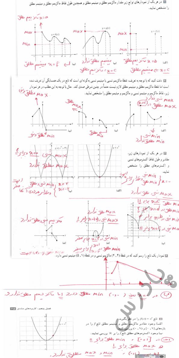 جواب کاردرکلاس صفحه 113 حسابان دوازدهم