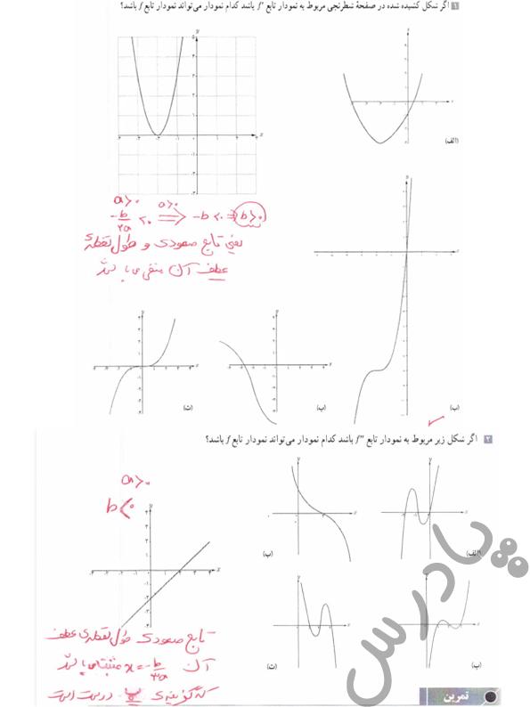 جواب کاردرکلاس صفحه 135 حسابان دوازدهم