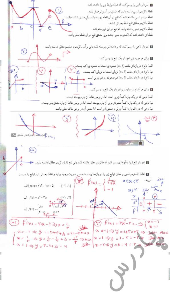 حل تمرین صفحه 125 حسابان دوازدهم