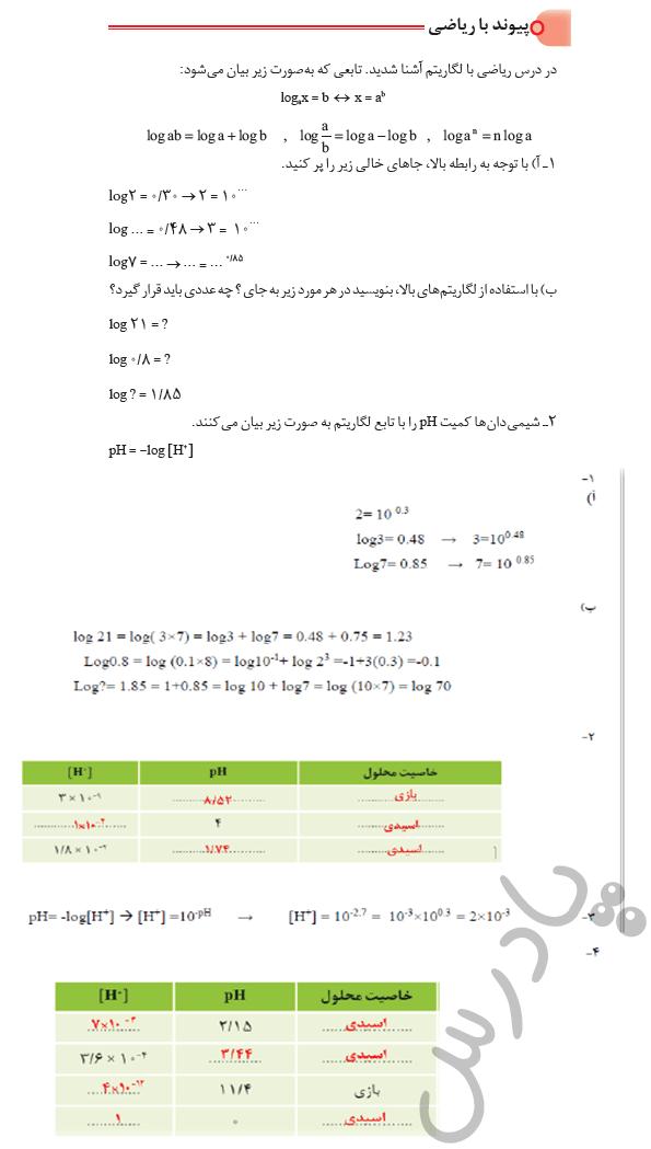 پاسخ پیوند با ریاضی صفحه 24 شیمی دوازدهم