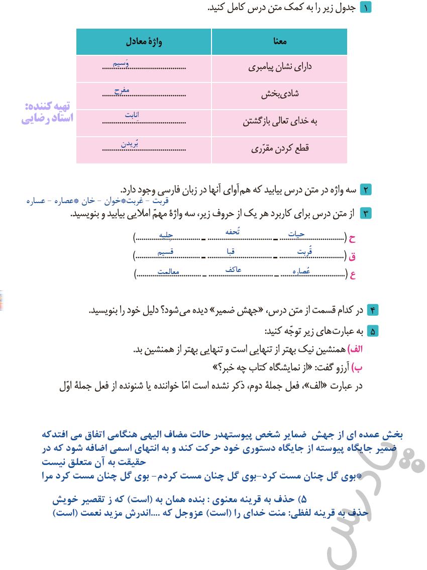 پاسخ قلمرو زبانی درس 1 فارسی دوازدهم