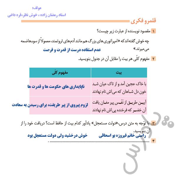 جواب قلمرو فکری درس 8 فارسی دوازدهم
