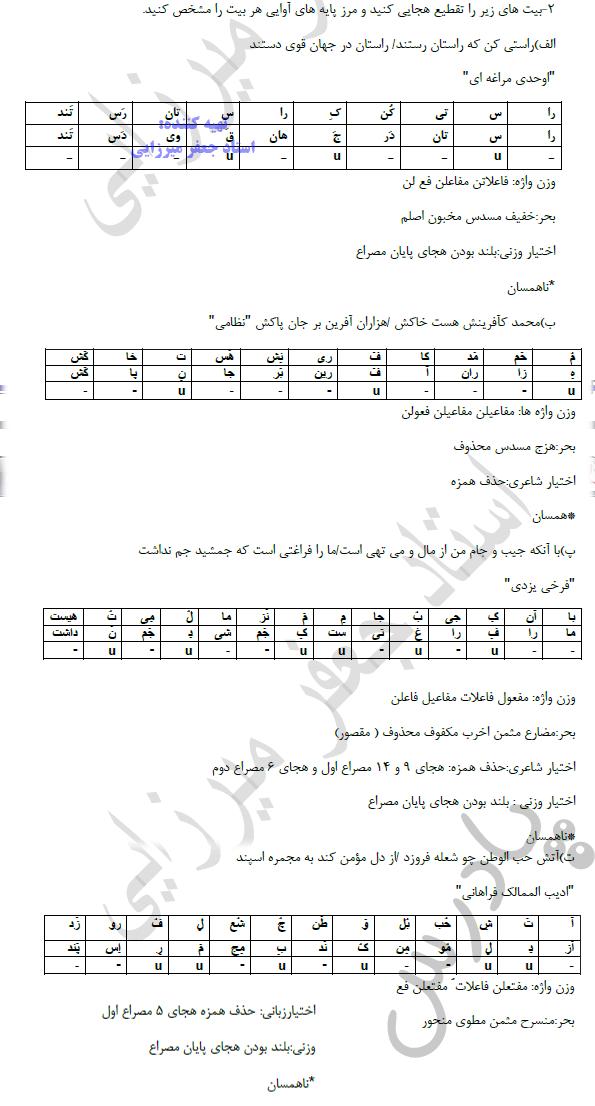 جواب سوال 2 درس2 علوم وفنون دوازدهم