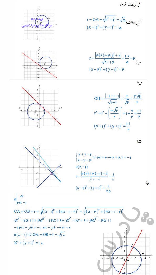 حل تمرین صفحه 46 هندسه دوازدهم