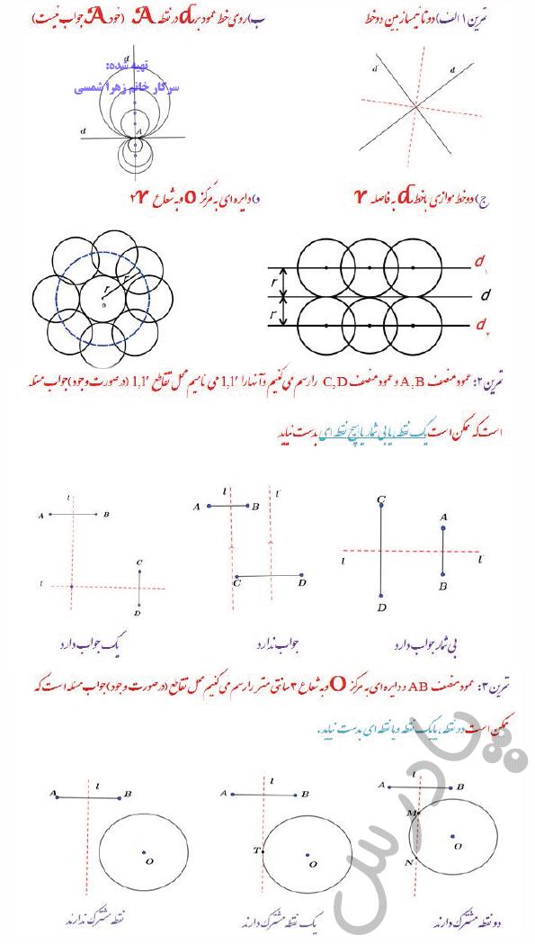 حل تمرین صفحه 39 هندسه دوازدهم