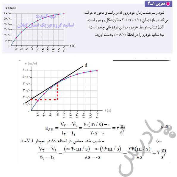 حل تمرین 4 فصل اول  فیزیک دوازدهم ریاضی