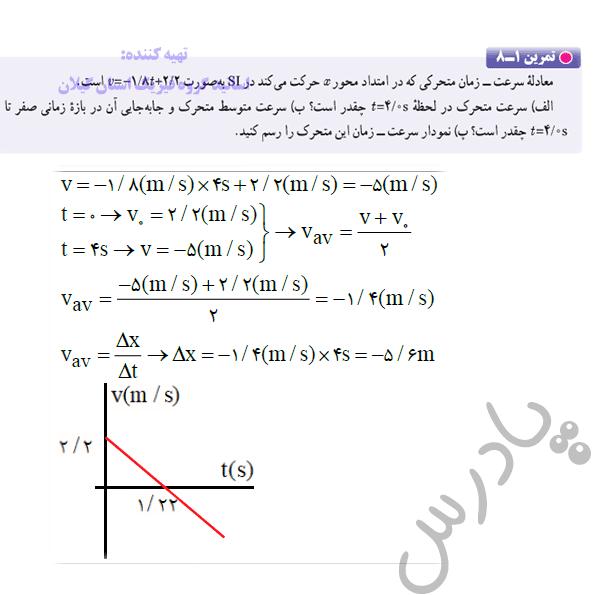 حل تمرین 8 فصل اول فیزیک دوازدهم ریاضی