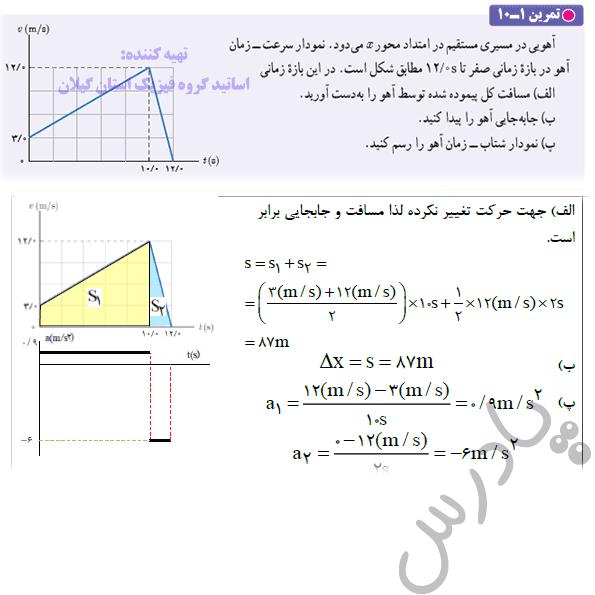 حل تمرین 10 فصل اول فیزیک دوازدهم ریاضی