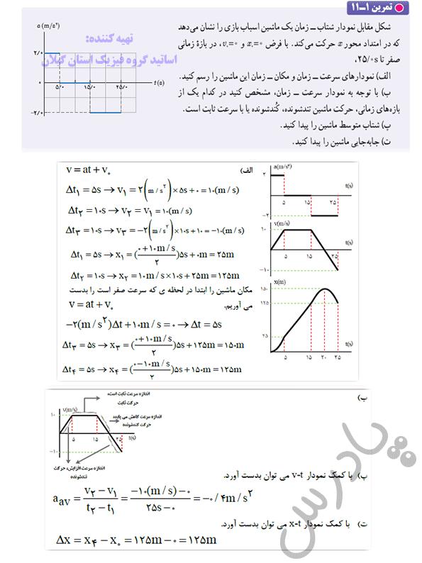 حل تمرین 11 فصل اول فیزیک دوازدهم ریاضی