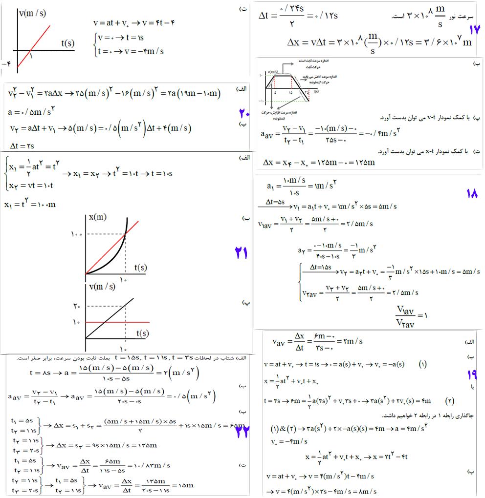 حل تمرین 17 تا 22 آخر فصل فیزیک دوازدهم ریاضی