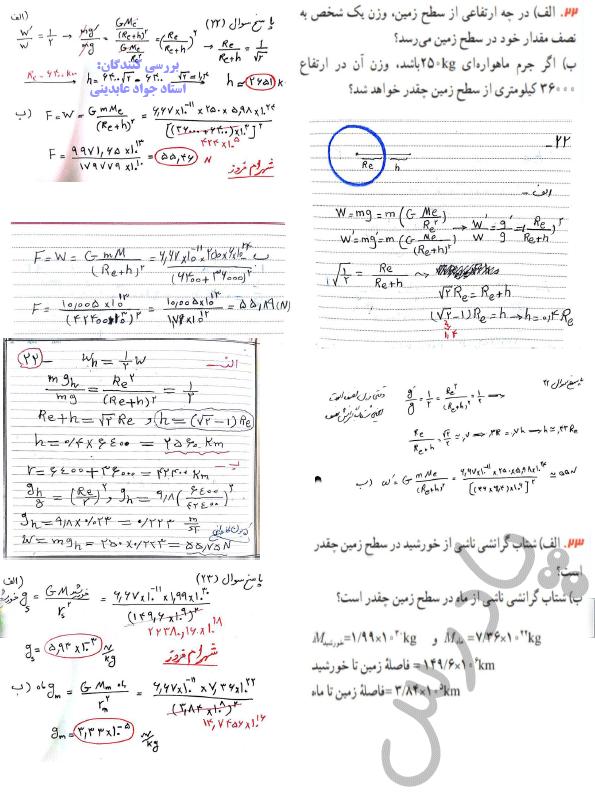 حل مسائل 22و23 فصل دوم فیزیک دوازدهم ریاضی