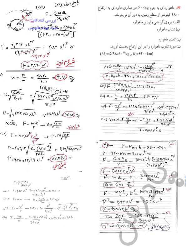 حل مسائل 21 فصل دوم فیزیک دوازدهم ریاضی