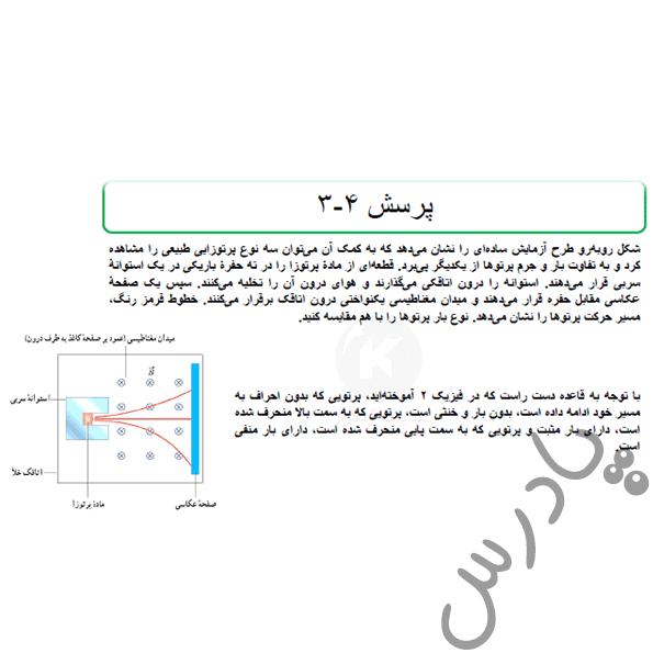 پاسخ پرسش 3 فصل 4 فیزیک دوازدهم تجربی