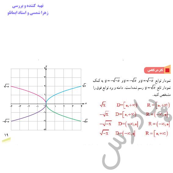 جواب کاردرکلاس صفحه 19 ریاضی دوازدهم