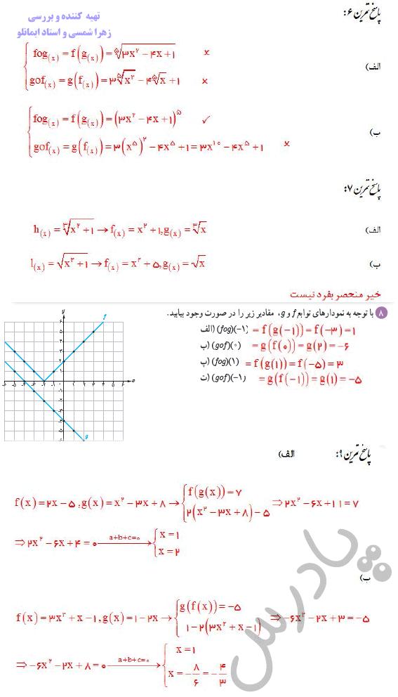 ادامه حل تمرین صفحه 22 ریاضی دوازدهم