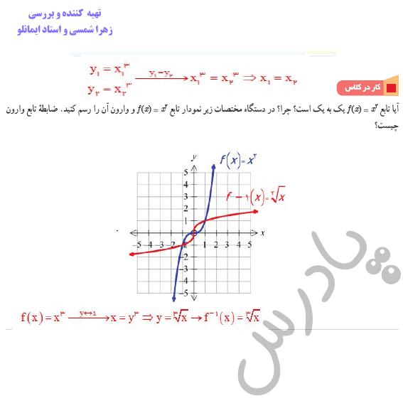 جواب کاردرکلاس صفحه 26 ریاضی دوازدهم