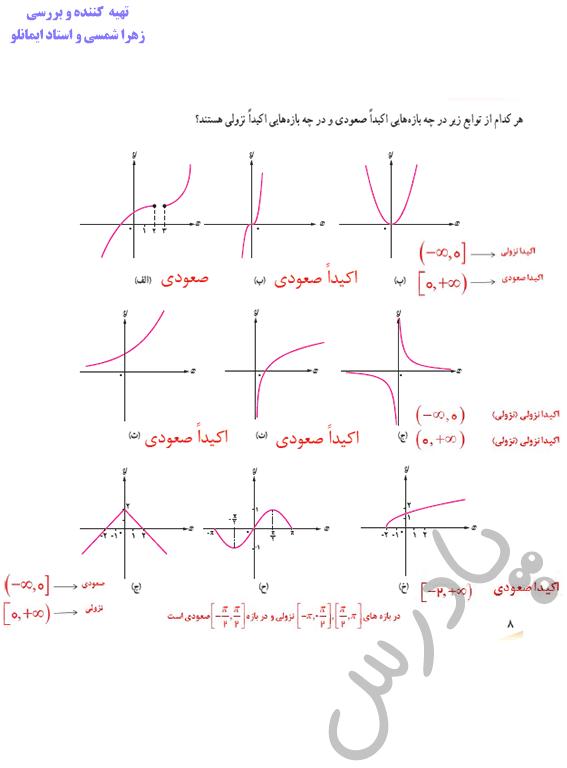 جواب کاردرکلاس صفحه 8 ریاضی دوازدهم