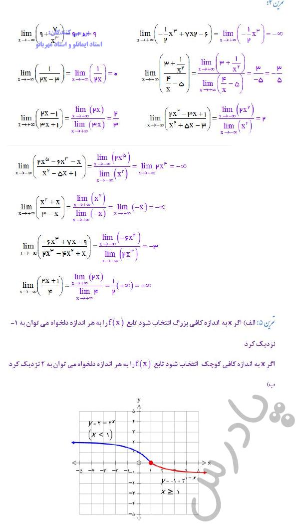 ادامه حل تمرین صفحه 64 ریاضی دوازدهم