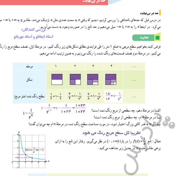 پاسخ فعالیت صفحه 58 ریاضی دوازدهم