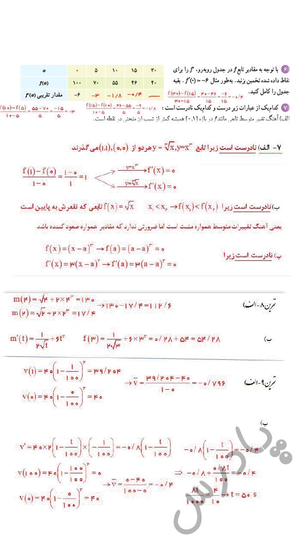 ادامه حل تمرین صفحه 99 ریاضی دوازدهم