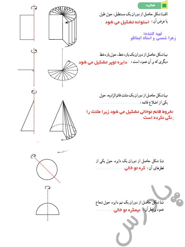 پاسخ فعالیت صفحه 123 ریاضی دوازدهم