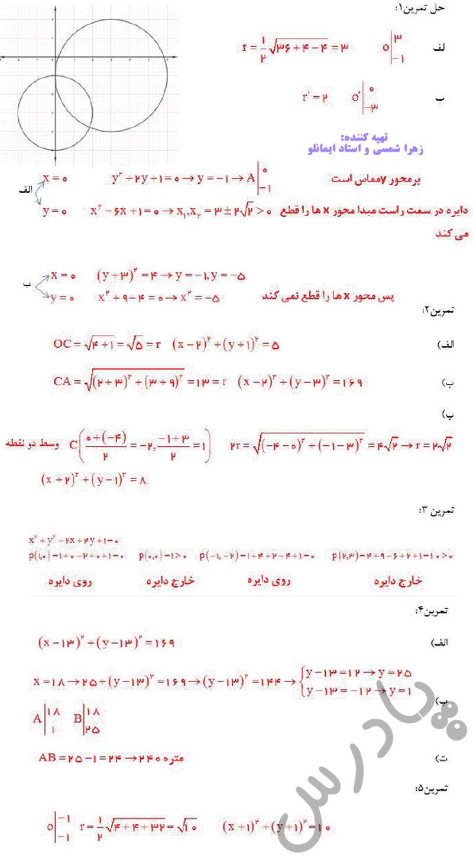 حل تمرین صفحه 142 ریاضی دوازدهم
