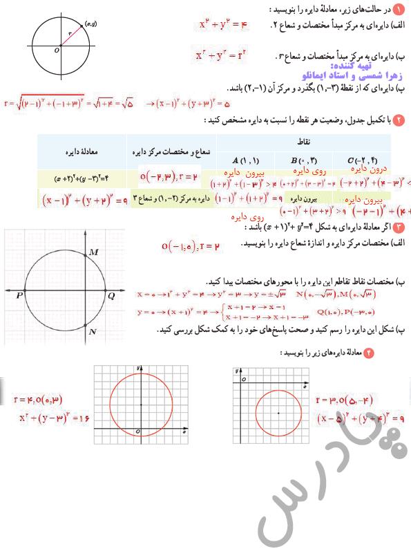 جواب کاردرکلاس صفحه 136 ریاضی دوازدهم