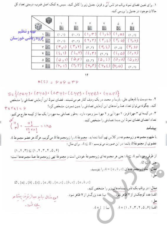 جواب کاردرکلاس صفحه 14 ریاضی دوازدهم انسانی