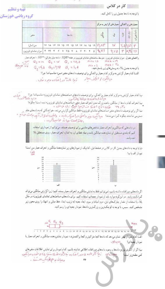 جواب کاردرکلاس صفحه 35 ریاضی و آمار دوازدهم