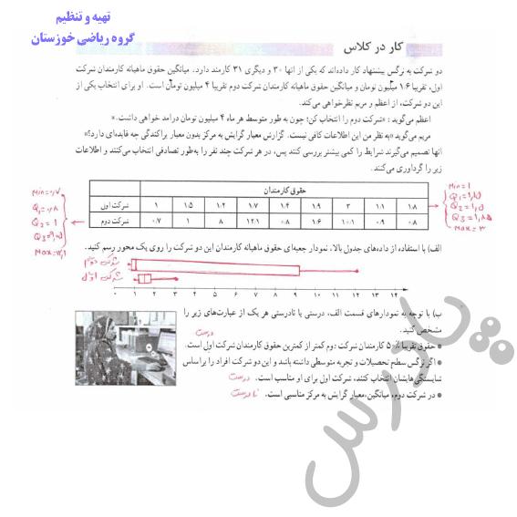 جواب کاردرکلاس صفحه 37 ریاضی و آمار دوازدهم