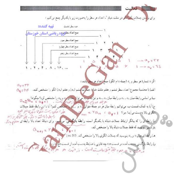 پاسخ فعالیت صفحه 52 ریاضی و آمار دوازدهم