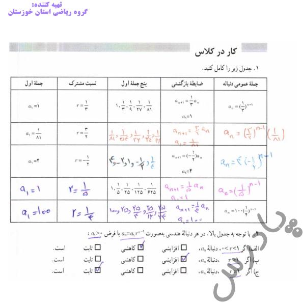 جواب کاردرکلاس صفحه 77 ریاضی دوازدهم انسانی