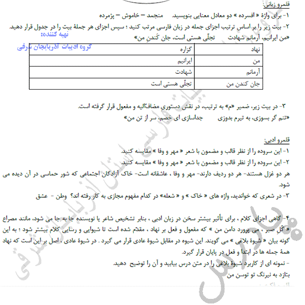 پاسخ قلمرو زبانی و ادبی درس 11 فارسی دهم