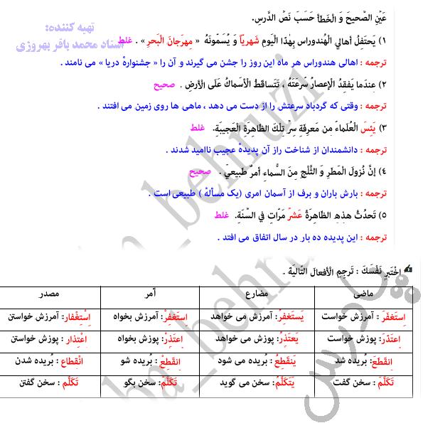 جواب اختبر نفسک درس سوم عربی دهم