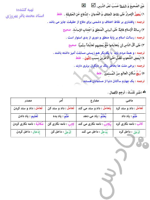 جواب اختبر نفسک درس 4 عربی دهم