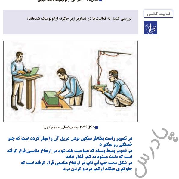پاسخ فعالیت کلاسی صفحه 109 الزامات محیط کار هنرستان