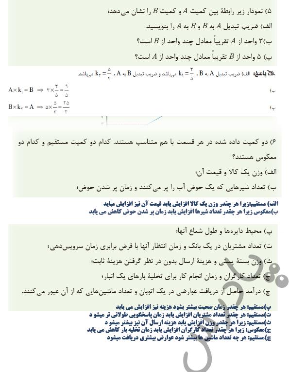 ادامه حل مسائل صفحه 29 ریاضی دهم فنی و حرفه ای