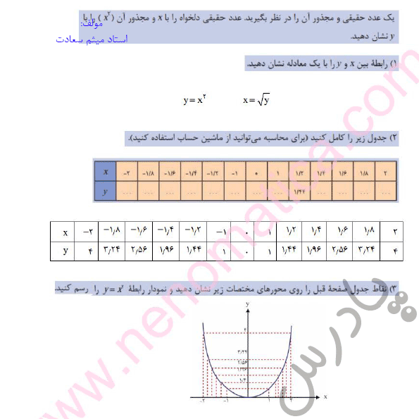 پاسخ فعالیت صفحه 73 ریاضی دهم هنرستان
