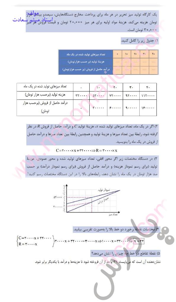 جواب کاردرکلاس صفحه 76 ریاضی دهم فنی و حرفه ای
