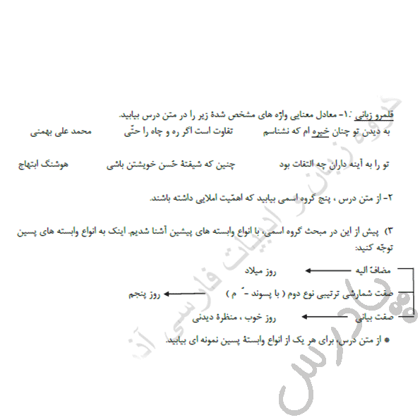 جواب قلمرو زبانی درس 16 فارسی یازدهم