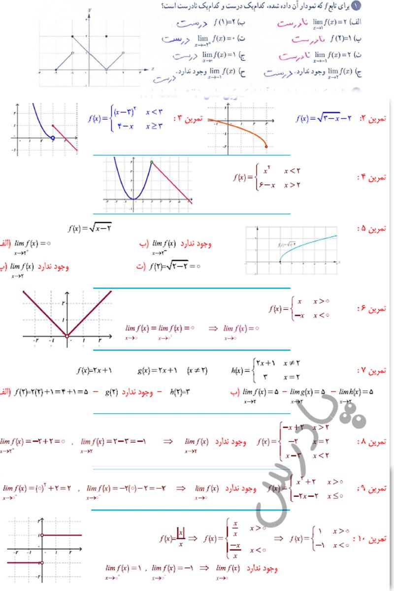 حل تمرین صفحه 127 ریاضی یازدهم