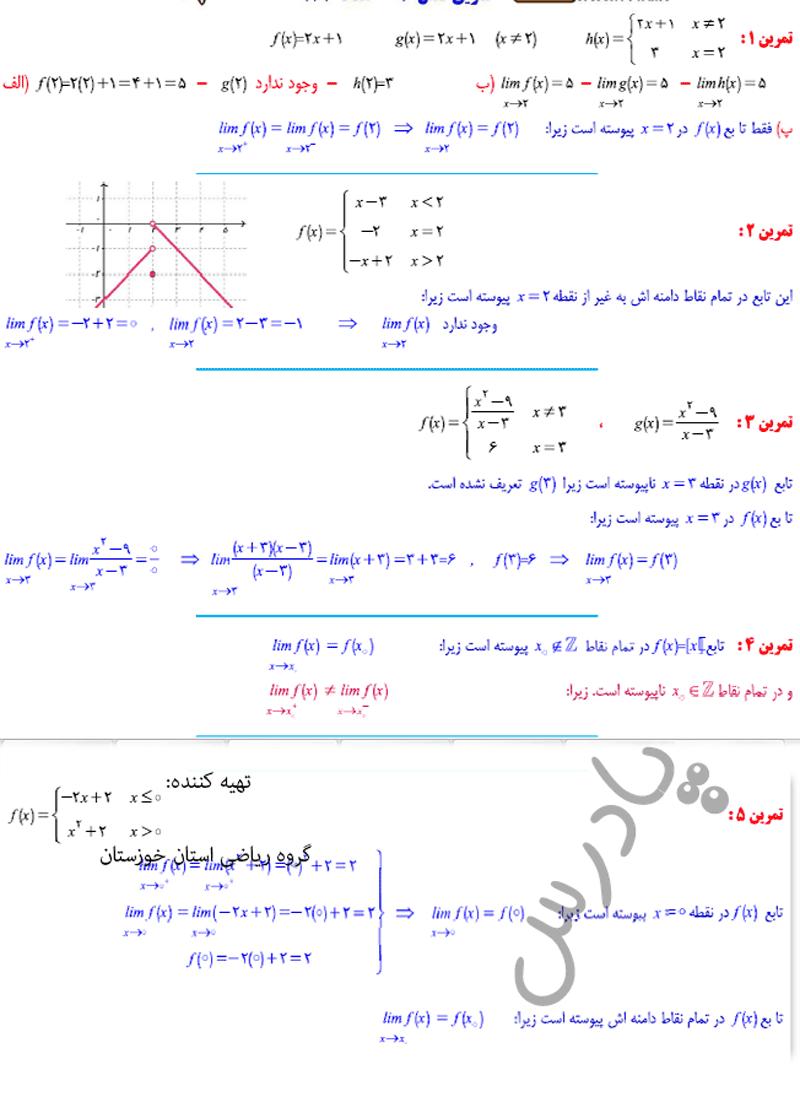 حل تمرین فصل 6 ریاضی یازدهم