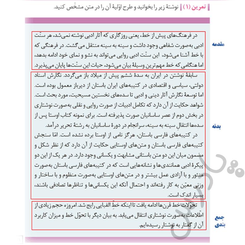 جواب کارگاه نوشتن فارسی و نگارش یازدهم فنی
