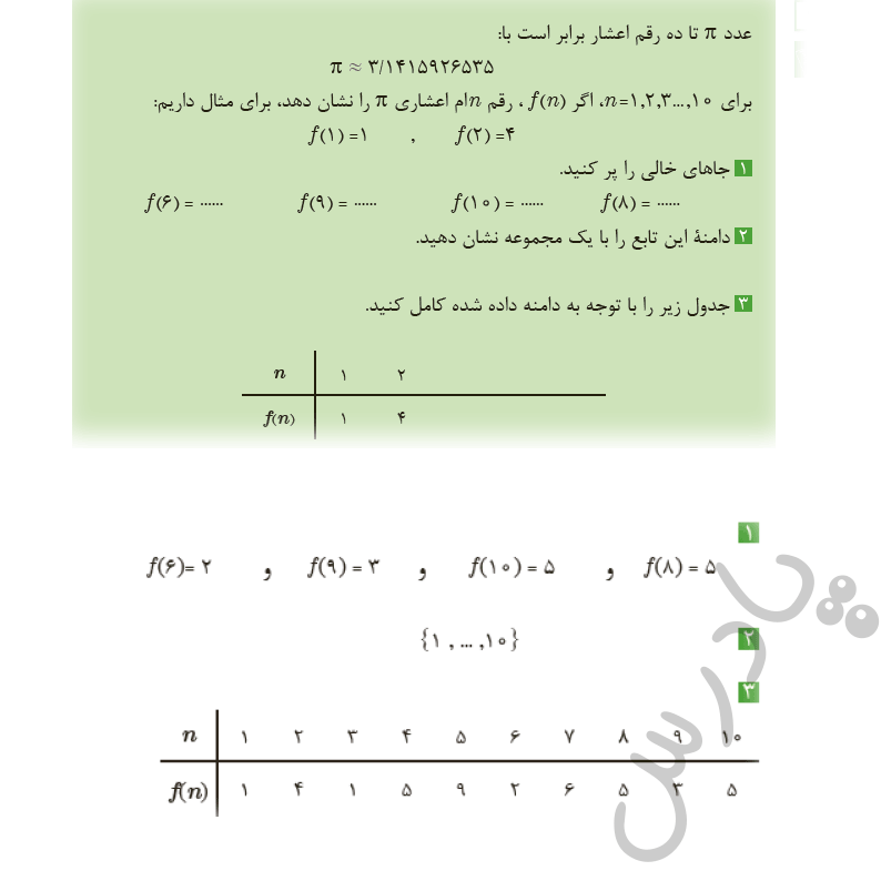 پاسخ فعالیت صفحه 26 ریاضی یازدهم فنی